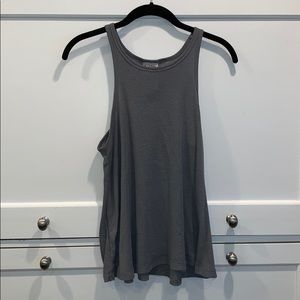 Free People Gray High Neck Flowy Tank Top